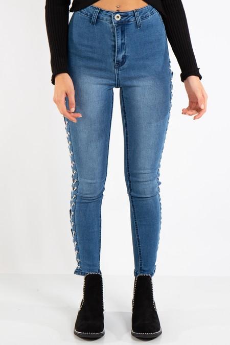 Liliana Denim Blue Side Tie Jeans