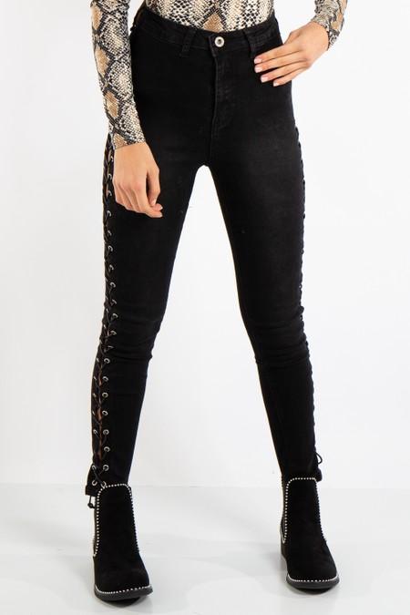 Liliana Denim Black Side Tie Jeans