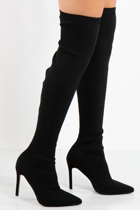River Black Ribbed Over The Knee Stiletto Sock Boot