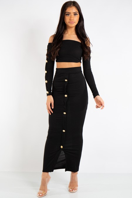 Abigail Black Long Skirt and Crop top Button Coord