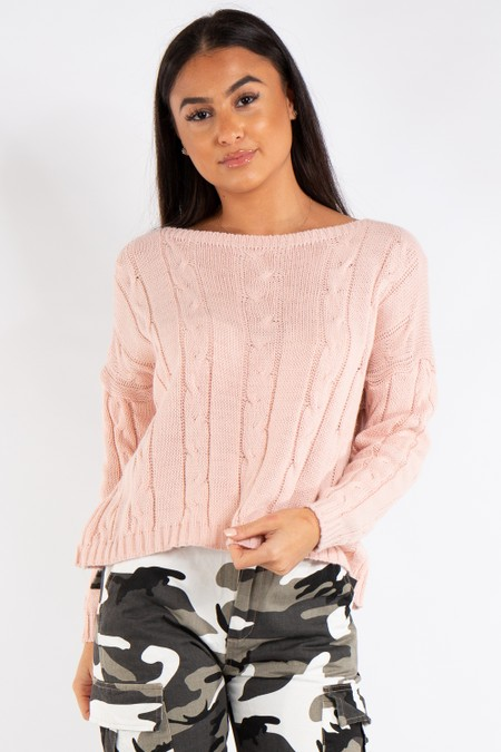 Ariana Pink Cable Knit Jumper