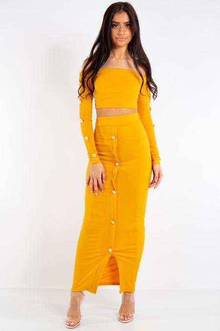 Abigail Mustard Long Skirt and Crop top Button Coord