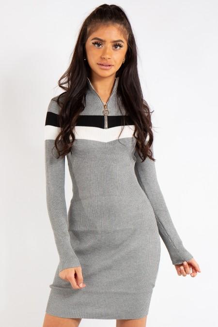 Mackenzie Grey Colour Block Zip Front Ribbed Dress