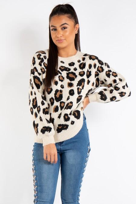 Skylar Leopard Print Knit Jumper