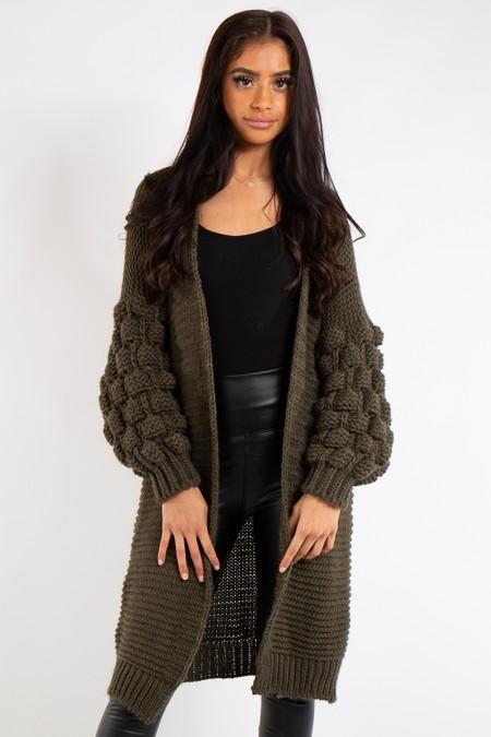 Elena Khaki Bubble Arm Knitted Cardigan