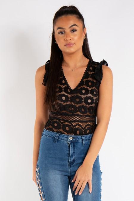 Naomi Black Lace Trim Bodysuit