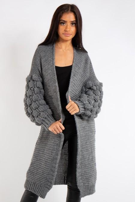 Elena Grey Bubble Arm Knitted Cardigan
