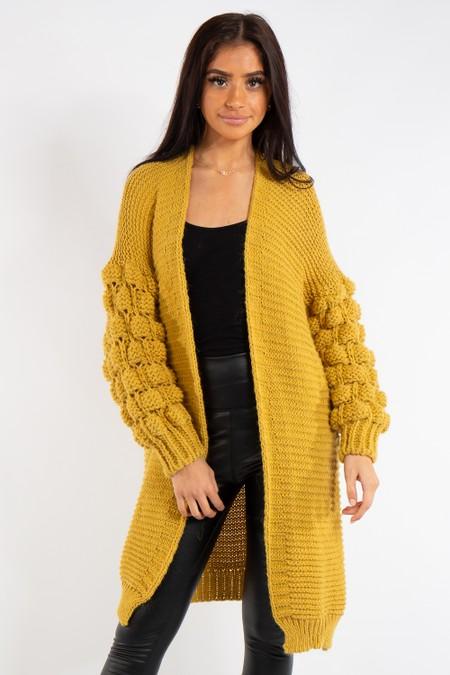 Elena Mustard Bubble Arm Knitted Cardigan
