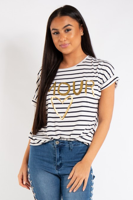 Trinity White Strip Amour Slogan T-Shirt
