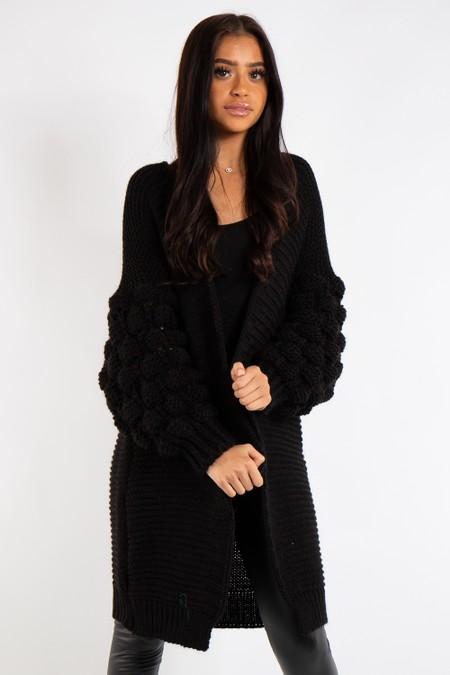 Elena Black Bubble Arm Knitted Cardigan