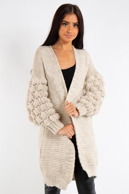 b20ab0dbab90 Elena Stone Bubble Arm Knitted Cardigan