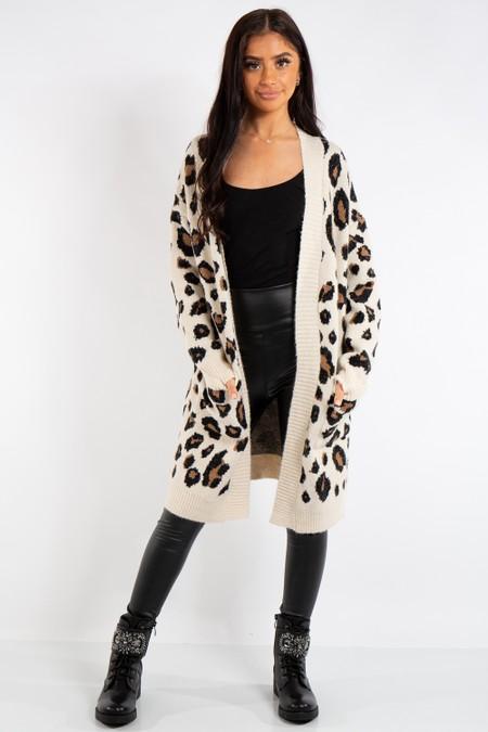 Stella Beige Leopard Print Knit Long Cardigan