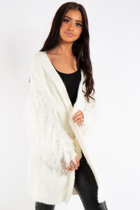 Ellie Cream Feather Fluffy Sleeve Lace Shoulder Knit Cardigan