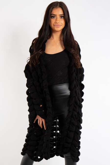 Sarah Black Knitted Longline Cardigan