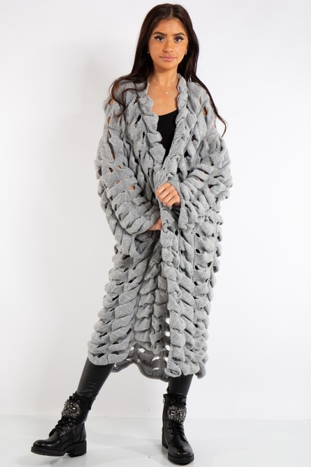 Sarah Grey Knitted Longline Cardigan