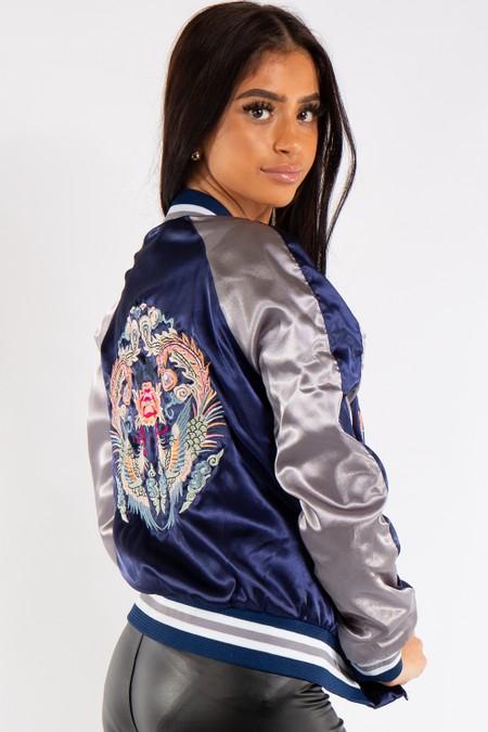 Chloe Blue and Silver Satin Bomber Jacket