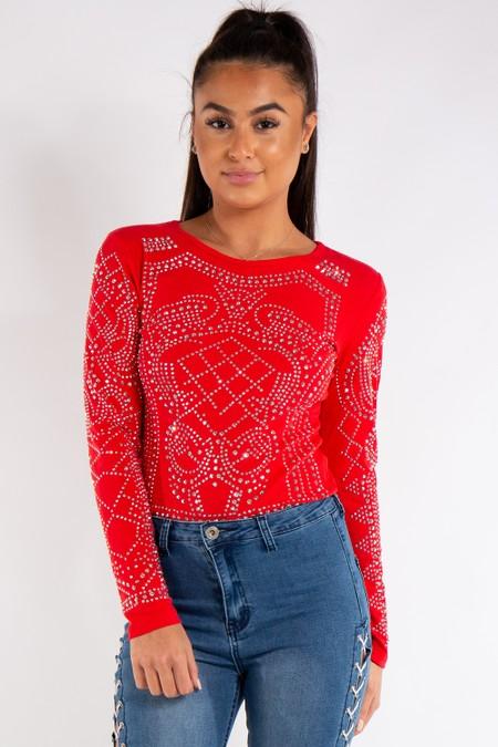 Taylor Red Bling Rhinestone Long Sleeved Bodysuit