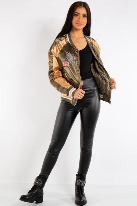 Chloe Khaki and Gold Satin Bomber Jacket