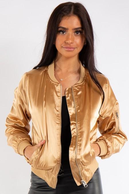 Grace Gold Satin Bomber Jacket