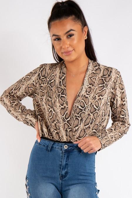 Rylee Snake Print Plunge Bodysuit