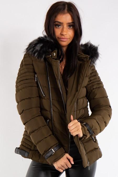 Ivy Khaki Faux Fur Hood Zip Detail Puffer Coat