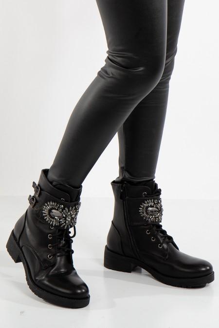 Izabella Black Jewel Embellished Buckle Strap Boots