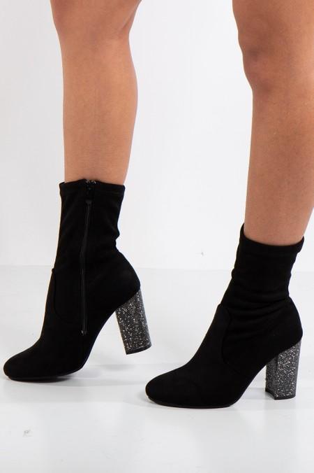 Kate Black Faux Suede Block Bling Heel Boots