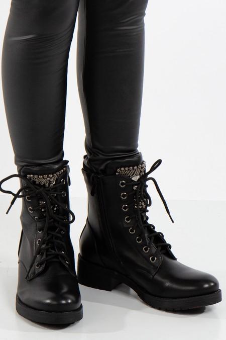 Black Biker Boots Beaded Embellished