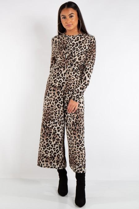 Isla Leopard Print Cross Over Jumpsuit