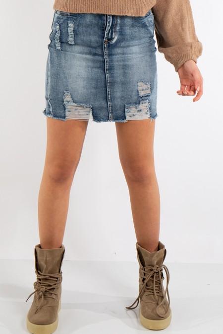 Natalia Mid-Wash Denim Rip Mini Skirt