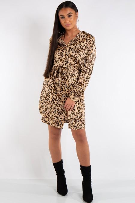 Julia Leopard Print Shirt Dress