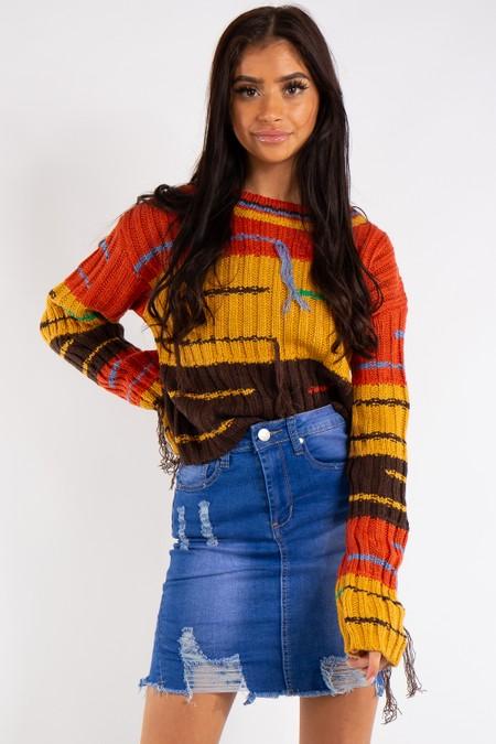 Natalia Blue Denim Rip Mini Skirt