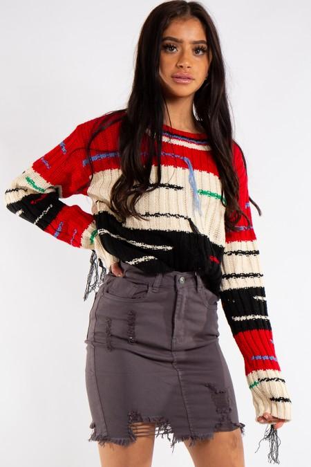 Natalia Grey Denim Rip Mini Skirt