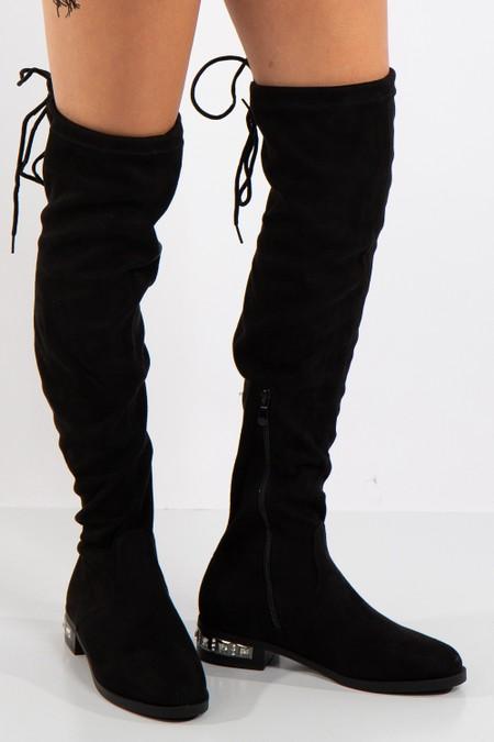 Vera Black Faux Suede Knee High Jewel Heel Boot