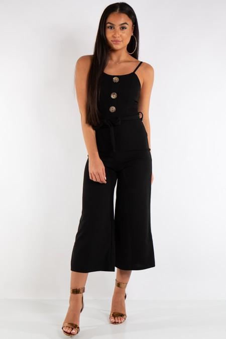 Harper Black Button Detail Belted Jumpsuit