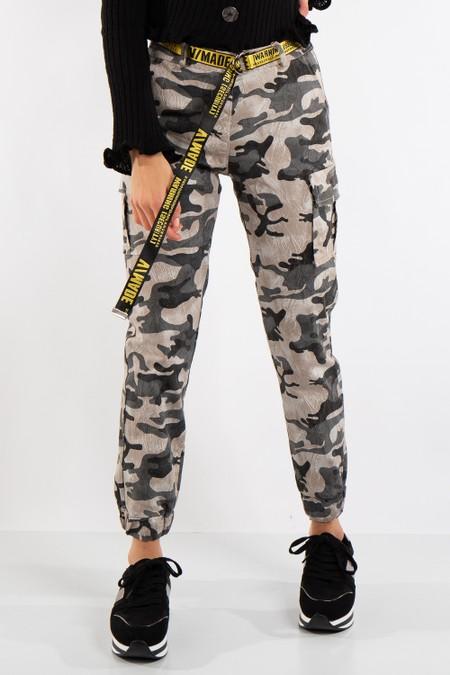 Sophie Grey Camo Cargo Combat Trousers