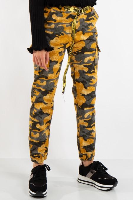 Sophie Mustard Camo Cargo Combat Trousers