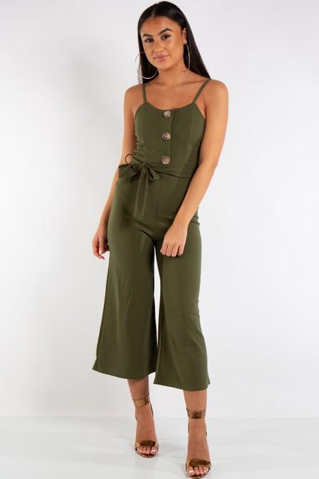 Harper Khaki Button Detail Belted Jumpsuit