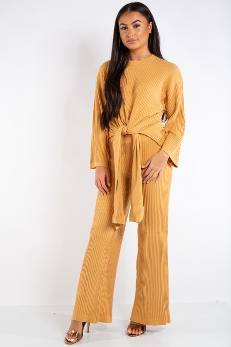 Gabriella Yellow Tie Up Relaxed Fit Striped Loungewear