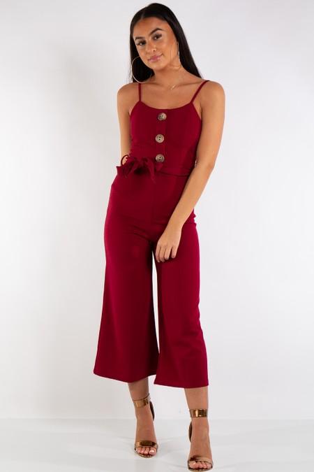 Harper Wine Button Detail Belted Jumpsuit