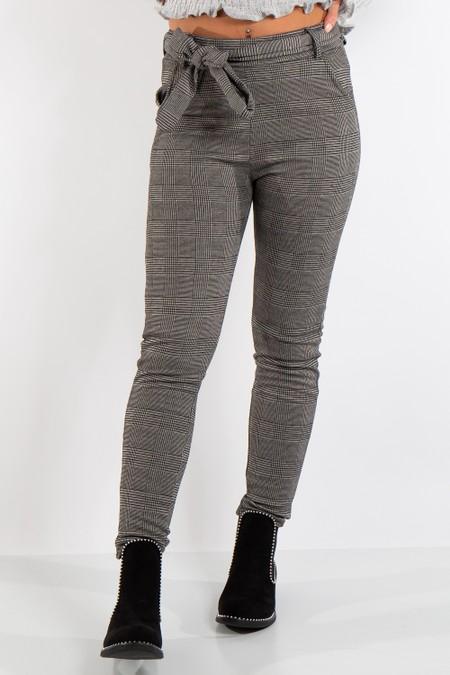 Quinn Light Grey Check Tie Up Belt High Waist Trousers