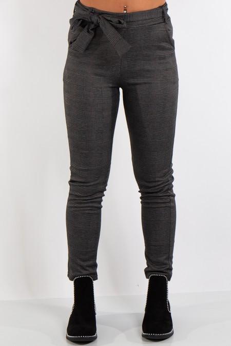 Quinn Dark Grey Check Tie Up Belt High Waist Trousers