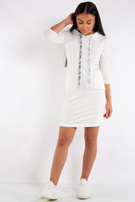 Catherine White Hoody Jumper Dress