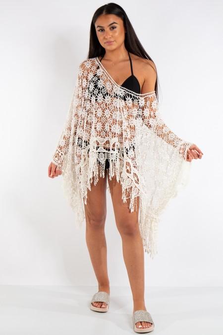 Hailey White Crochet Poncho
