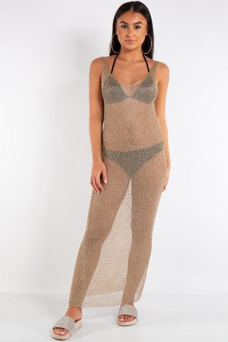 Eden Gold Metallic Fishnet Maxi Dress