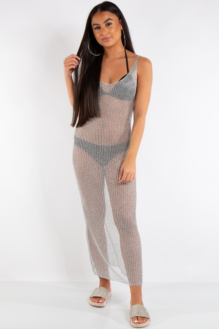 Eden Silver Metallic Fishnet Maxi Dress