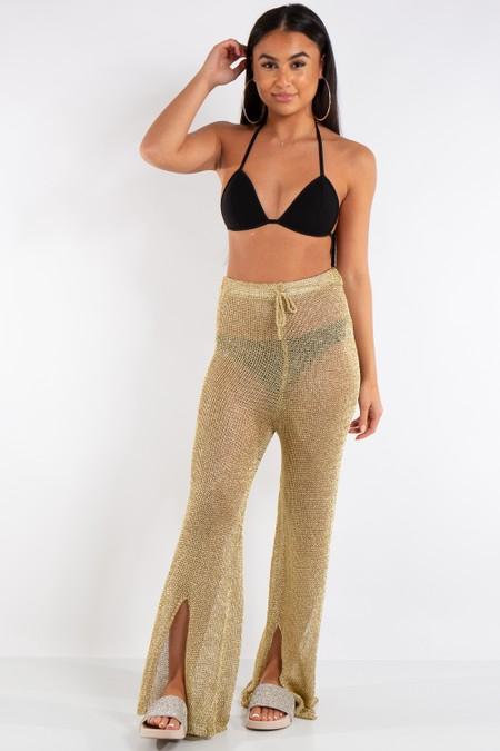 Riley Gold Metallic Fishnet Trousers