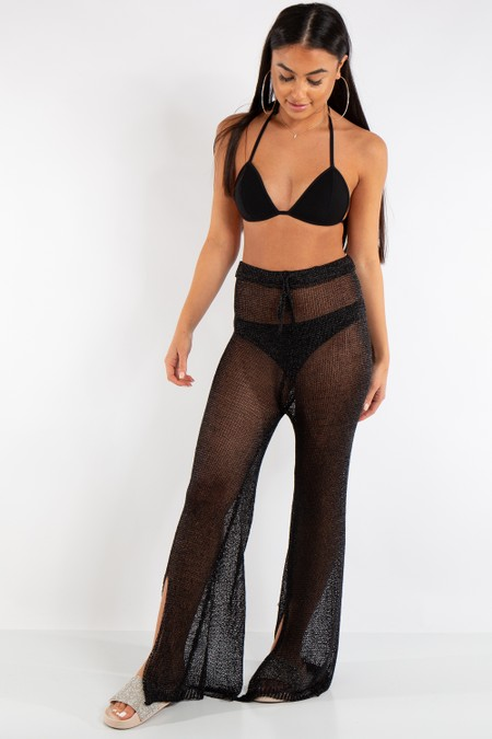 Riley Black Metallic Fishnet Trousers