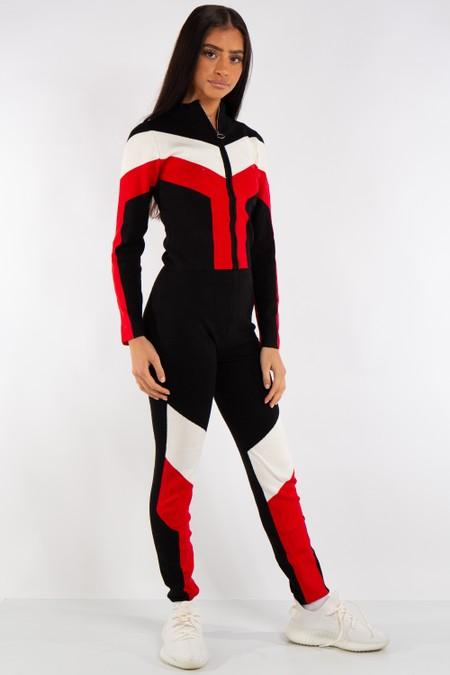 Aaliyah Black Contrast Panel Ribbed Loungewear Tracksuit