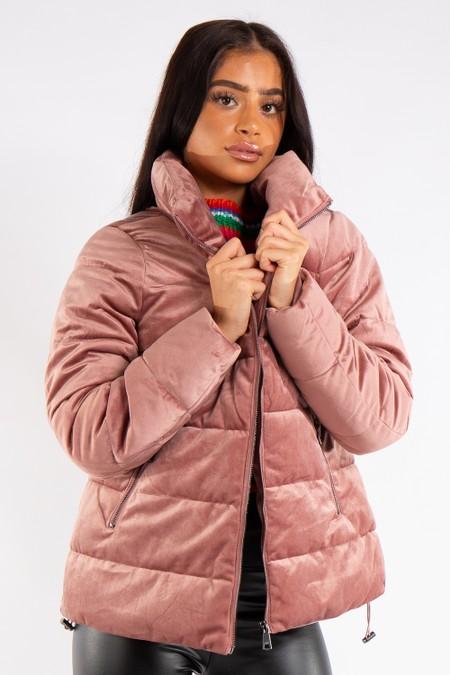 Bella Pink Velvet Puffa Coat